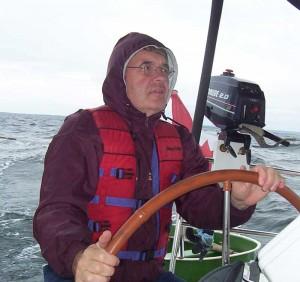 "Steve steering ""Mahone Belle"" around Cape Canso (Canada)"