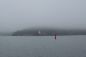 Fog outside St. Peter's Canal, the entrance to the Bras d'Or Lakes